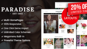 Paradise – Flower Shop WordPress WooCommerce Theme (8+ Homepages Ready)